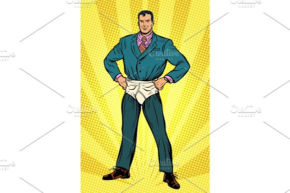 Superhero Businessman In Funny Pants Diapers