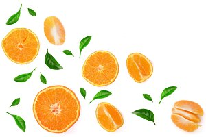 orange or tangerine with leaves isolated on white background with copy space for your text. Flat lay, top view