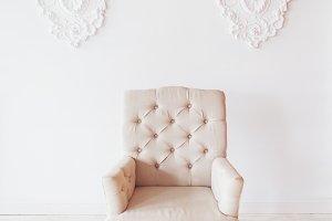 Beige chair on white background