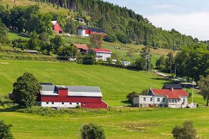 Norway landscape with village