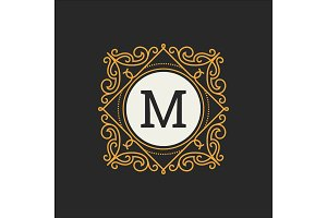 Luxury Logo vector template for Restaurant, Royalty, Boutique, Cafe, Hotel, Heraldic, Jewelry, Fashion. Letter floral monogram