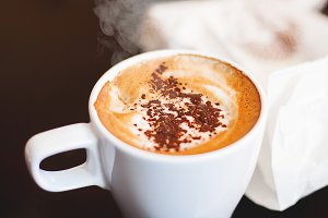 Hot cappucino with cinnamon