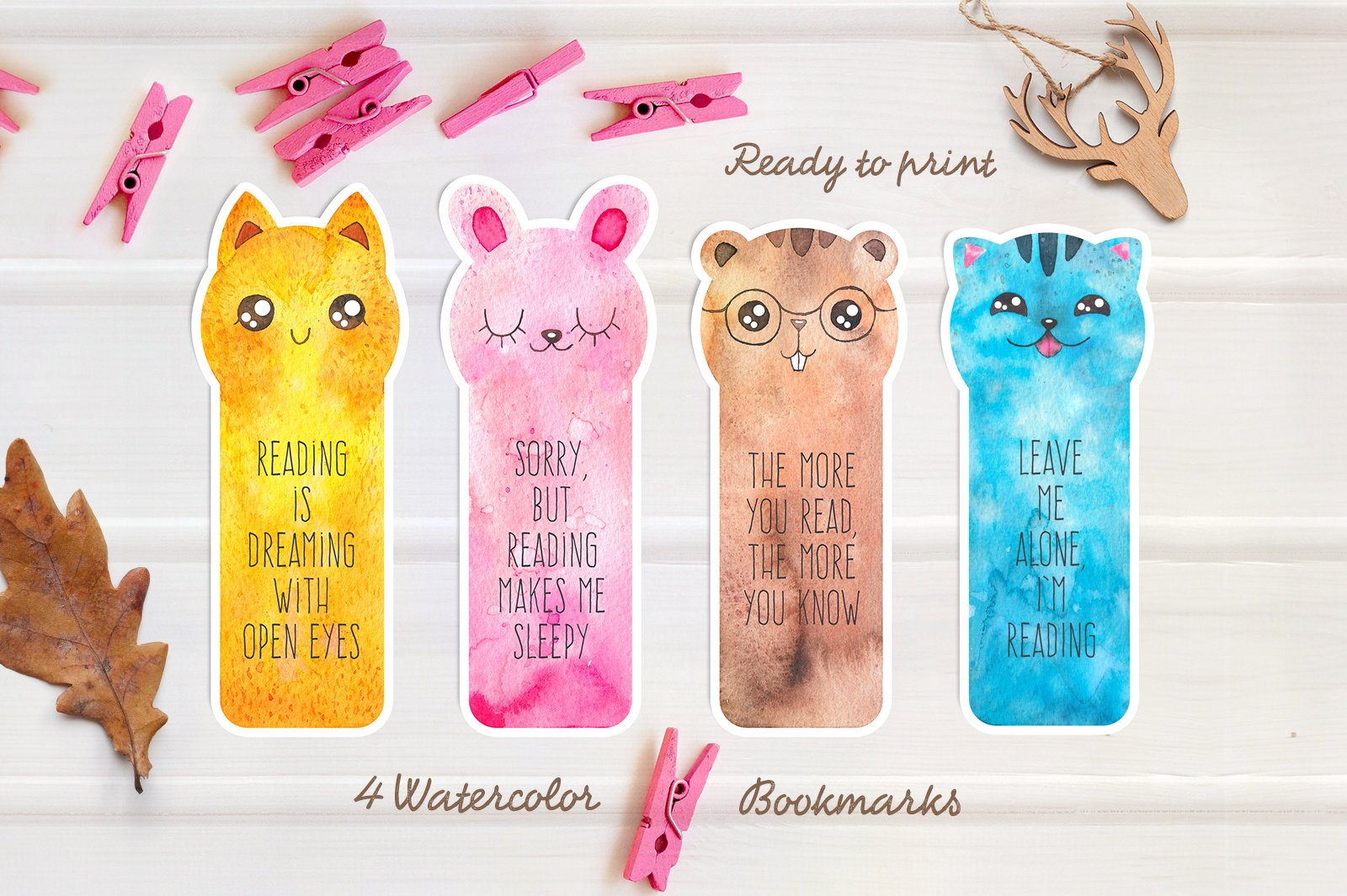 fun watercolor bookmarks ~ stationery templates ~ creative market