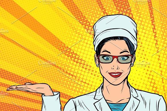 Woman Doctor Hand Presentation Gesture