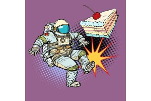 Astronaut kicks a piece of cake