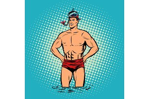 Retro diver lifeguard male in swimming trunks and mask