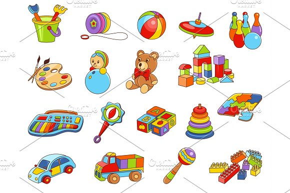 Toy Icon Collection Vector Color Illustration Kids Toys