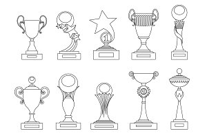 Sports trophies and awards silhouettes set for design, such logo. Adult coloring book