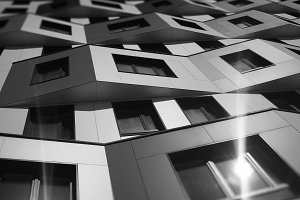 Diagonal black and white modern building with light flare background