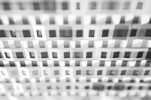 Dramatic black and white living blocks bokeh background