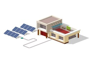 Eco house connected solar panels plant. House with alternative Eco Green Energy, 3d isometric infographic concept. Solar Panels set. Vector illustration