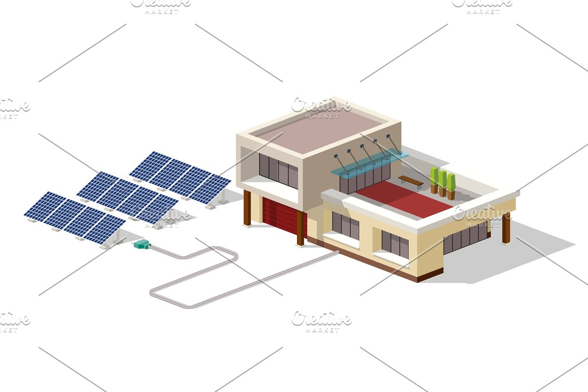 Eco House Connected Solar Panels Plant House With Alternative Eco Green Energy 3d Isometric Infographic Concept Solar Panels Set Vector