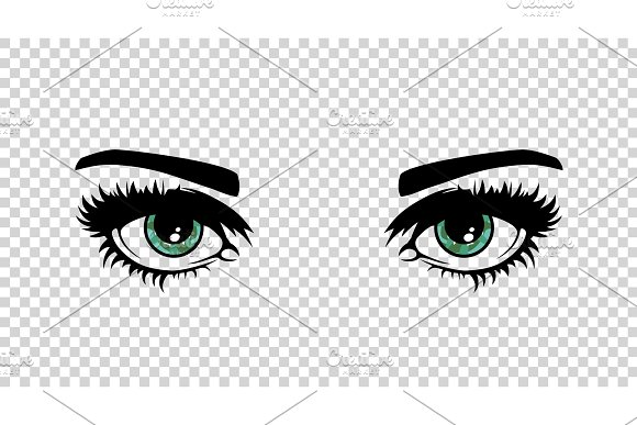 Vector Green Female Eyes With Long Lashes And Make Up Beautiful Girls