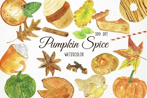 Watercolor Pumpkin Spice Clipart