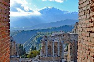 View from Taormina to Vulcano Etna