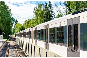 Metro train at Sognsvann Station in Oslo