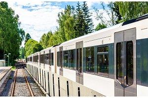 Metro train at Sognsvann Station in Oslo