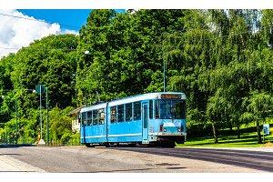 City tram at Slottsparken Station in Oslo