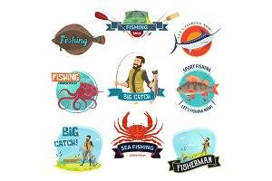 Vector fisherman sport fishing icons