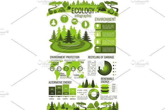 Ecology Green Energy And Recycling Infographics