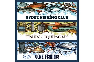 Vector fisherman sport fishing club sketch banners