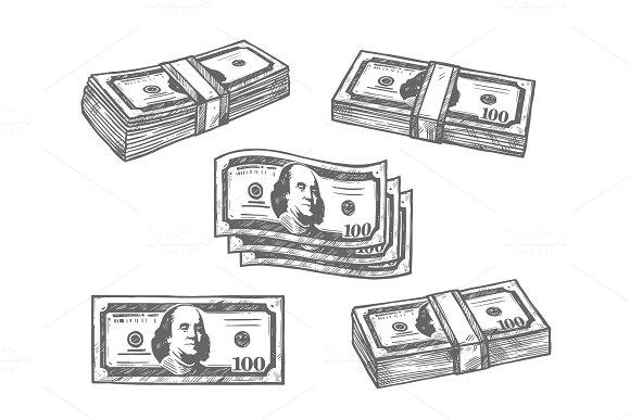 100 Dollar Banknotes Bundles Vector Sketch Icons