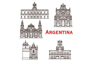 Argentina landmarks buildings vector line icons