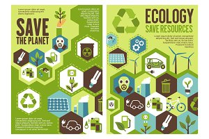 Save planet banner for ecology protection design