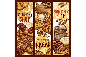 Vector bread sketch banners for bakery shop