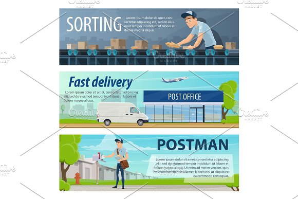 Post Mail Delivery Vector Banners