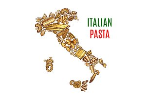 Vector Italian map pasta sketch poster