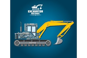 Vector poster of excavator mechanic details