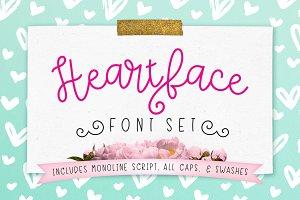 Heart Face Monoline Script Font