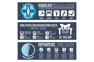 Vector banners for orthopedics medical center