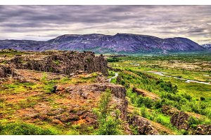 Fissures of the Mid-Atlantic Ridge in the Thingvellir National Park, Iceland