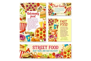 Vector fastfood street food meals or snaks posters