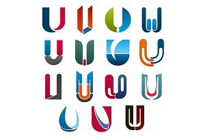 U letter vector icons template company brand name