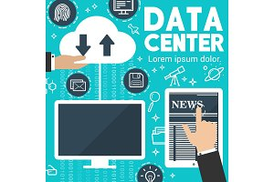 Vector internet news digital data exchange poster
