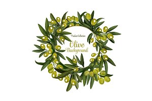 Vector olives bunch poster background