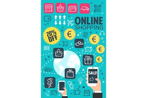 Vector internet online shopping poster