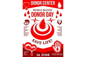 Blood drop with heart poster for World Donor Day