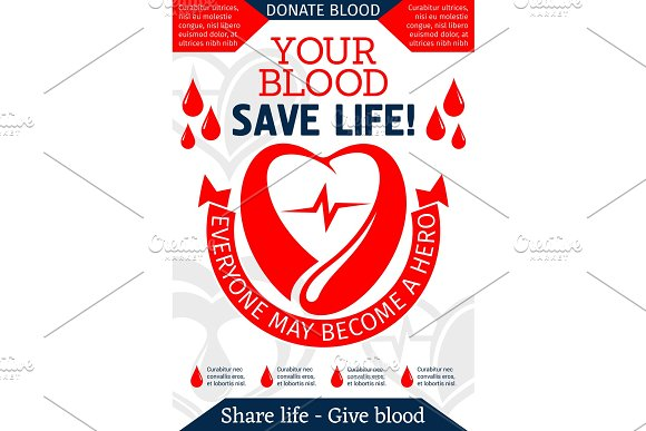 Blood Donation Poster For Health Charity Design