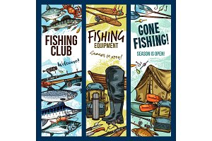 Vector fisherman sport club fishing sketch banners
