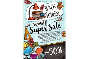 Back to School vector poster special promo sale