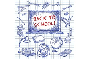 Back to School vector chalkboard ink sketch poster