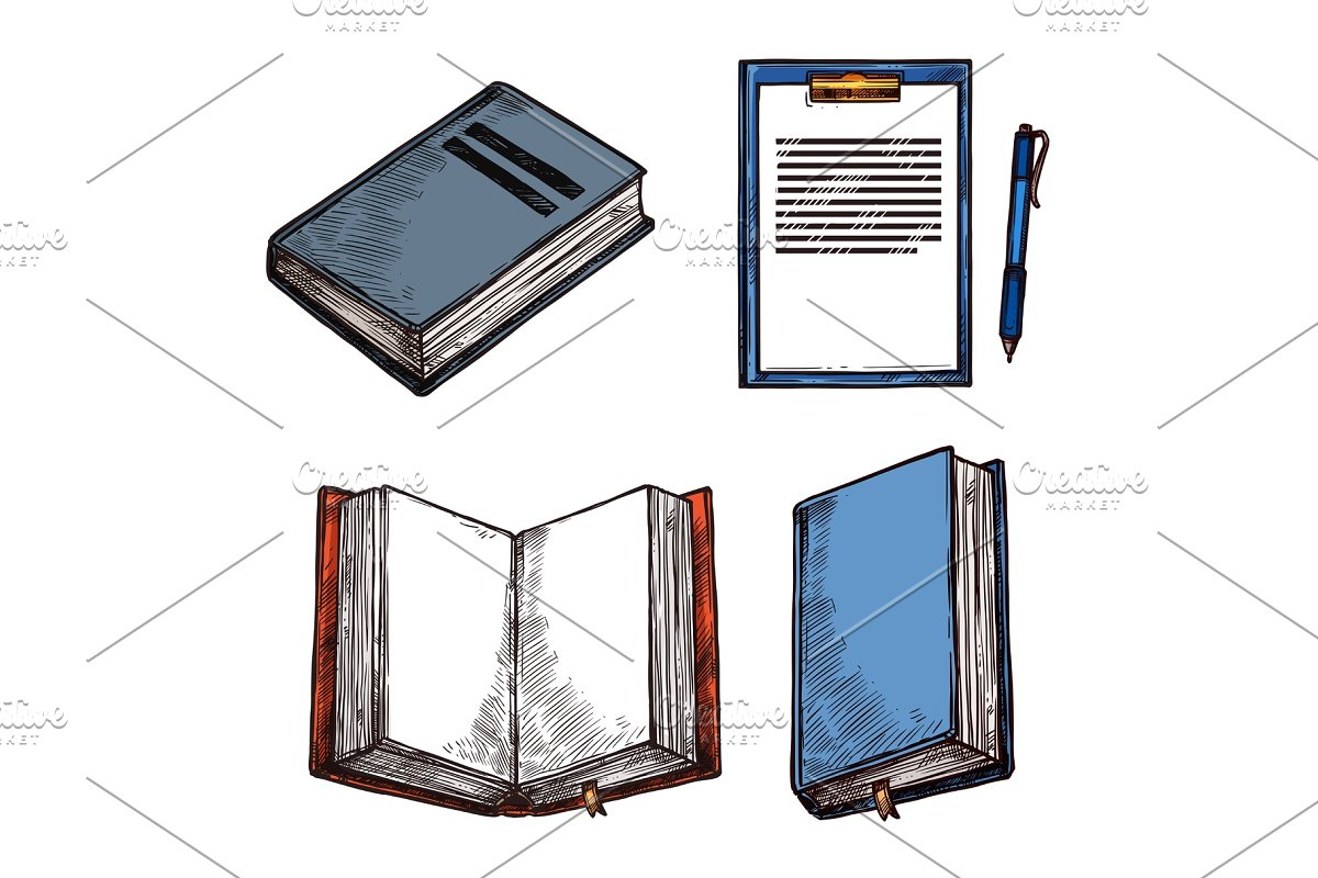 Vector sketch old vintage books abd notepad icons