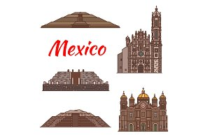 Mexico landmarks vector Aztec architecture icons