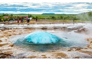 Strokkur geyser about to erupt