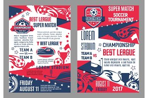 Vector soccer team football match posters