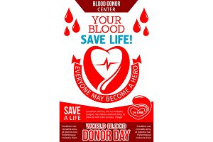 Blood donation banner with heart, drop and ribbon